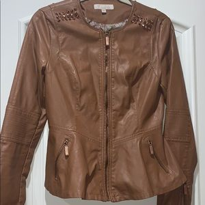 Faux leather jacket with stud details